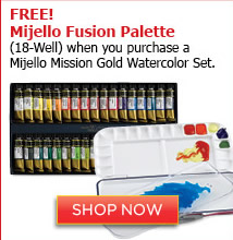 Free Mijello Fusion Palette when you purchase a Mijello Mission Gold Watercolor Set