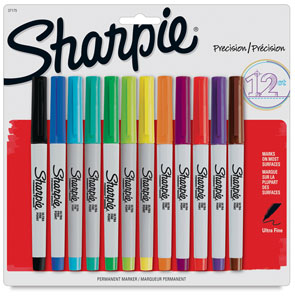 Sharpie Ultra-Fine Point Marker, Set of 12, Assorted Colors