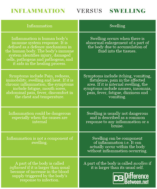 Difference Between Inflammation and Swelling   Difference ...