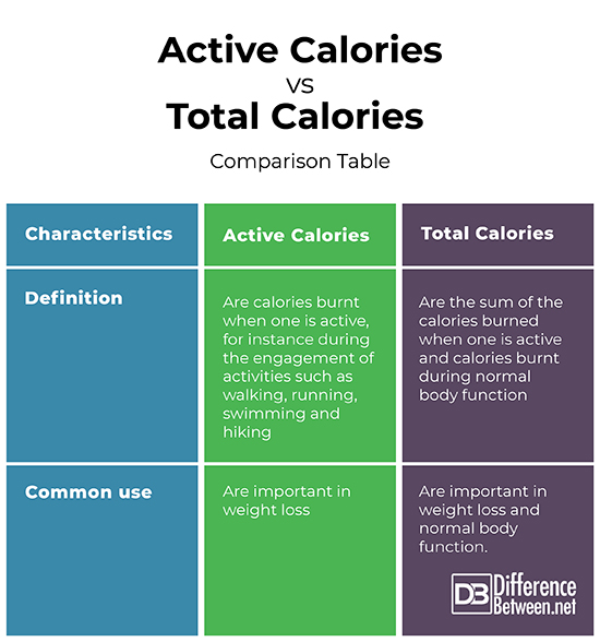 Difference Between Active Calories and Total Calories ...