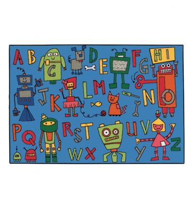 Carpets for Kids Reading Robots Alphabet Rectangle