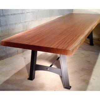 table a manger en bois exotique massif pietement acier