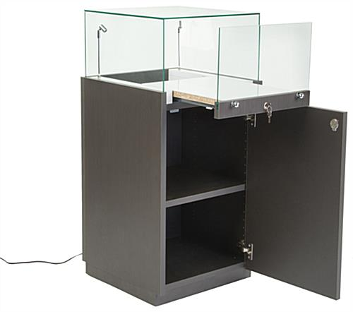 Pedestal Display Case  2 Tilting LED Lights  Slide Out