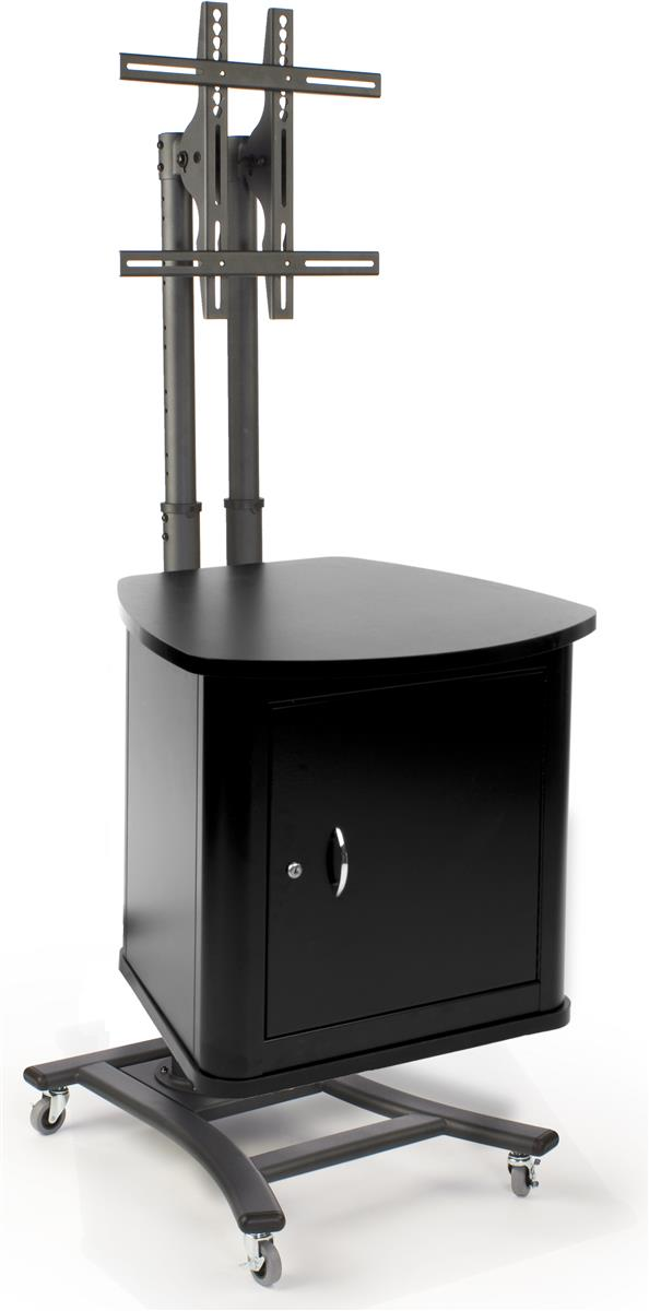 TV Stand with Security Cabinet  Adjustable Mount and