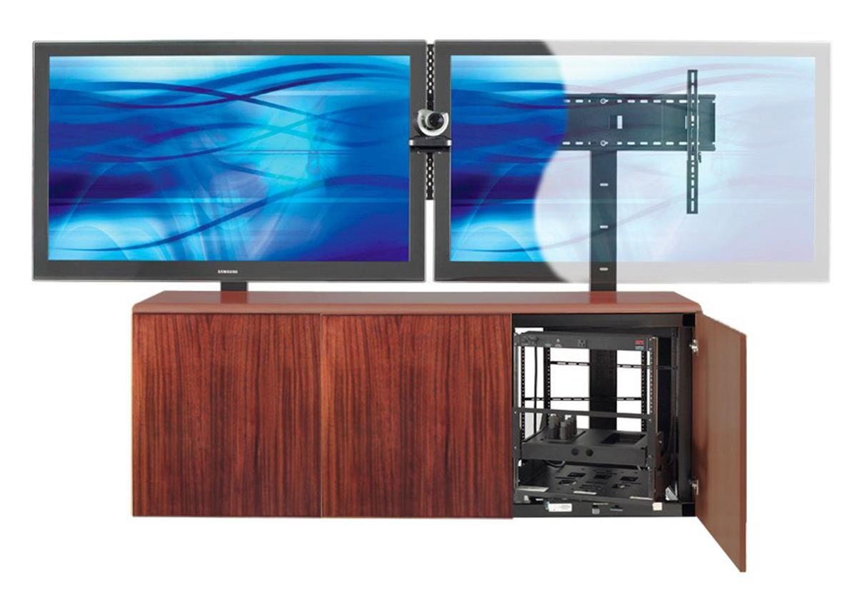 Contemporary Dual Mount TV Stand w Mahogany Veneer