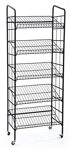 kitchen wire storage slate faucet bakers rack   5 gravity shelves & locking casters