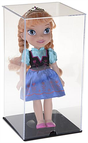 Acrylic Doll Display Case  Clear Box with Black Base