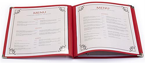Red 85 x 11 3 Page Restaurant Menu Covers  Leatherette Edge