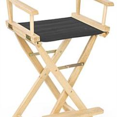 Folding Chair With Footrest Small Covers Director 29 Wooden Black Canvas Seat Foot Rest