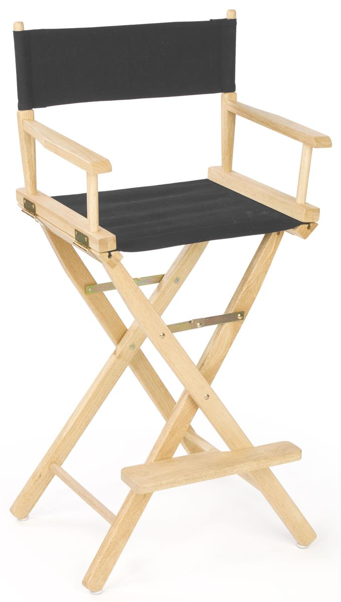 Director Chair  46 Wooden with Black Canvas Seat  Foot Rest
