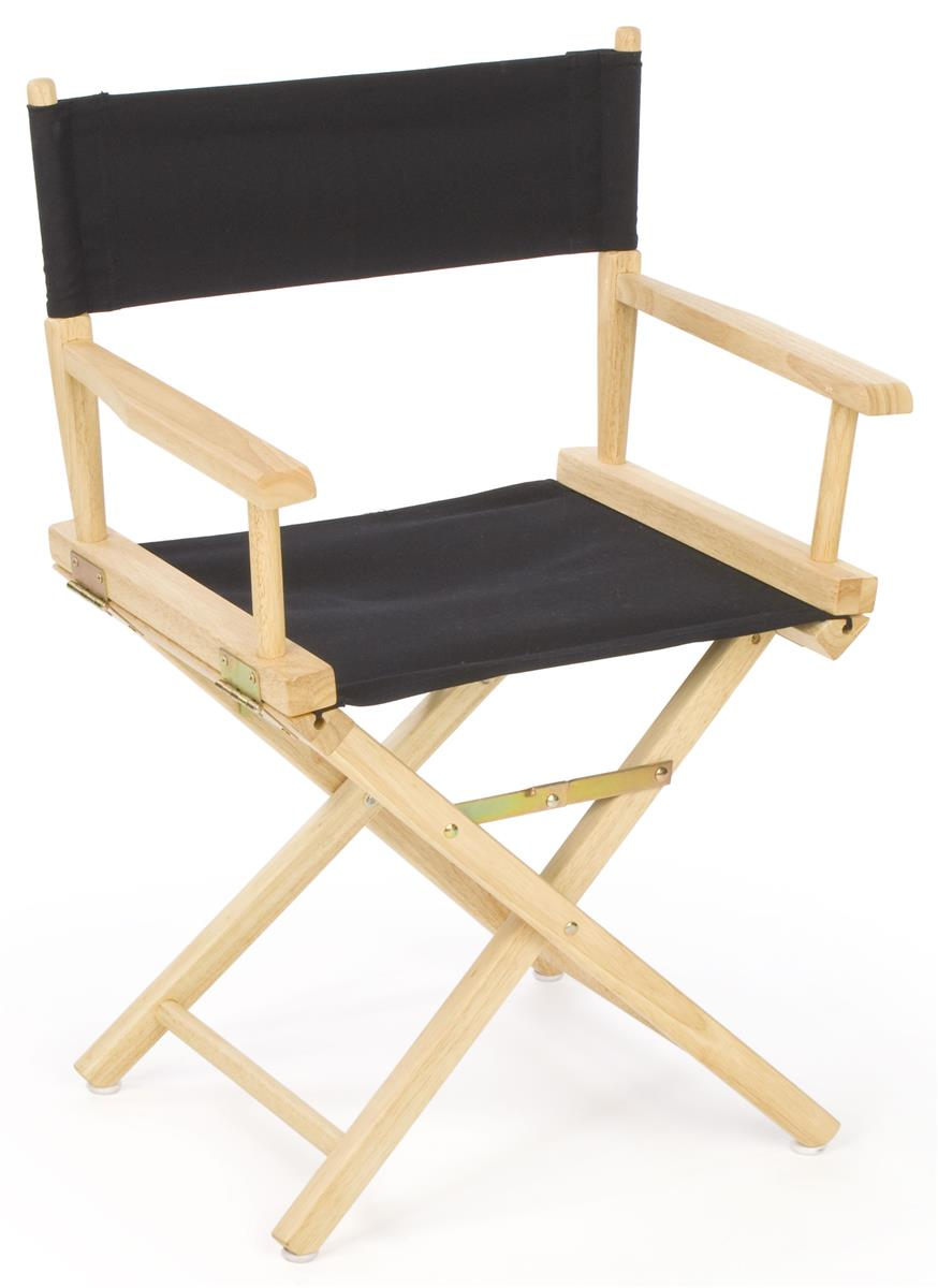 Folding Directors Chair  18 Wooden with Black Canvas Seat