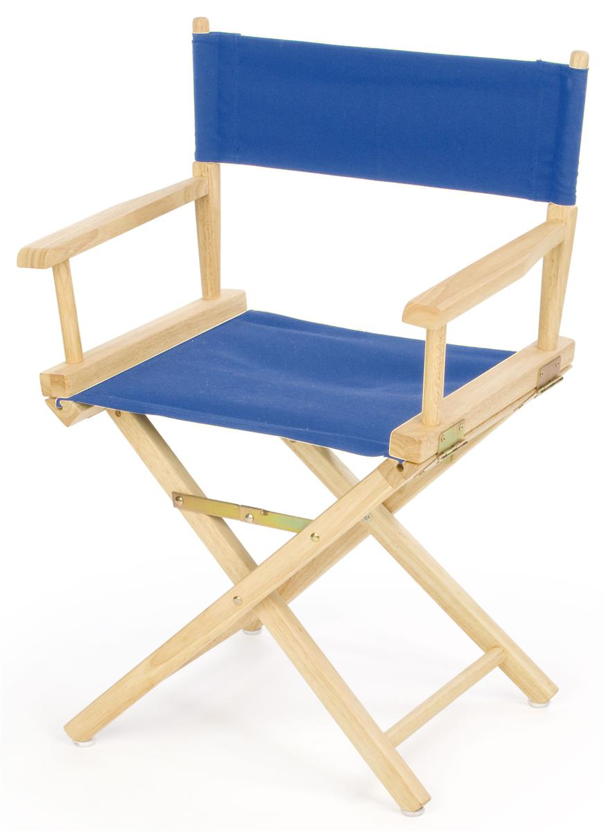 Director Chairs  18 Wooden with Blue Canvas Seat
