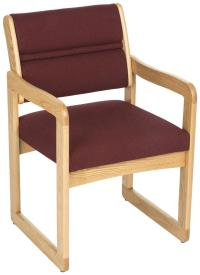 Burgundy Waiting Room Chair | Oak Wood with Fabric Upholstery