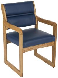 Blue Reception Room Chair | Wood with Vinyl Upholstery