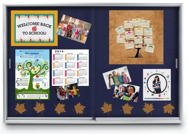 "72"" X 48"" Display Bulletin Boards With Sliding Doors"