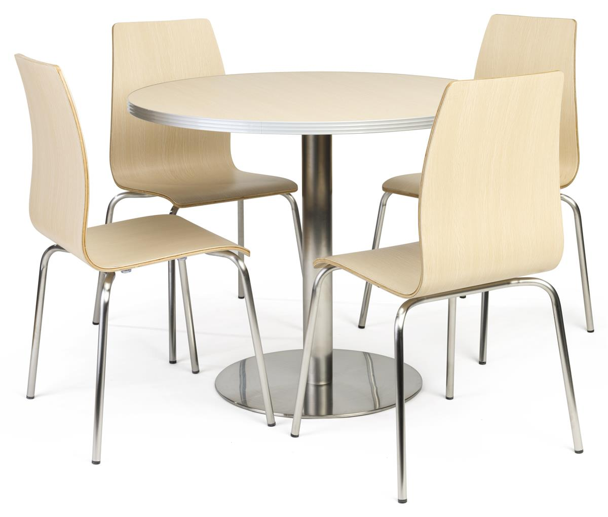 Break Room Chairs Cafeteria Breakroom Round Dining Table Set 5 Piece Set