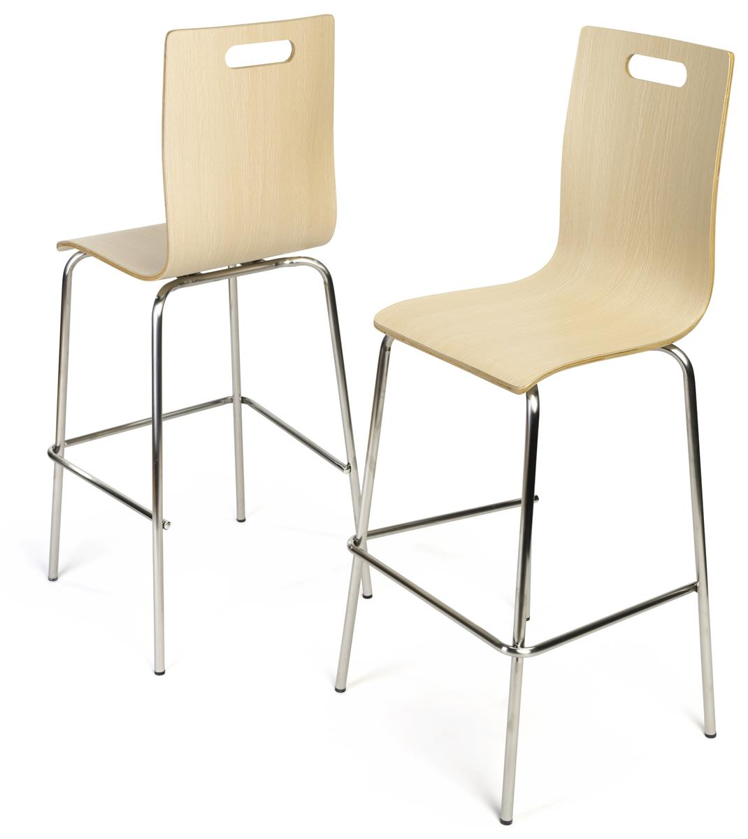 28 5 Bentwood Chair W Stainless Steel Legs Set Of 2 Light Finish