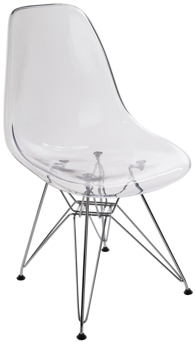Plastic Clear Chair 17 Seat Height Molded Plastic Chair Metal Legs Translucent Design Clear