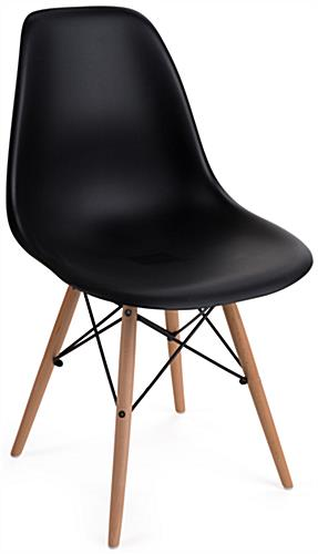 black plastic chair with wooden legs wingback club molded modern iconic eames style