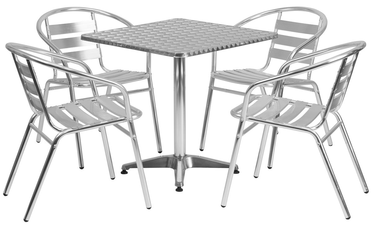 White Bistro Chairs Flash Furniture Dining Set W 28 H Square Table 4 Metal Chairs