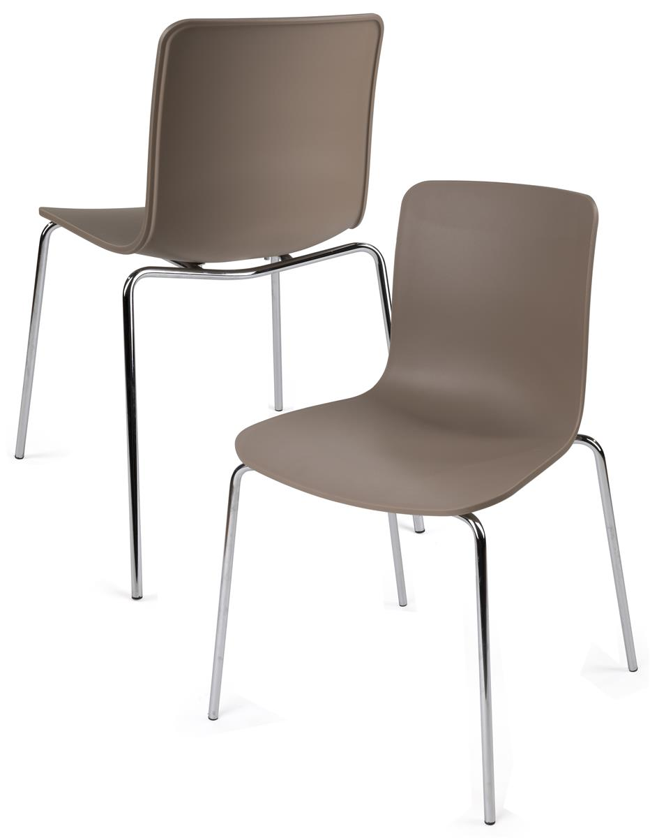 Set of 2 Modern Plastic Chairs  Scooped Molded Seat