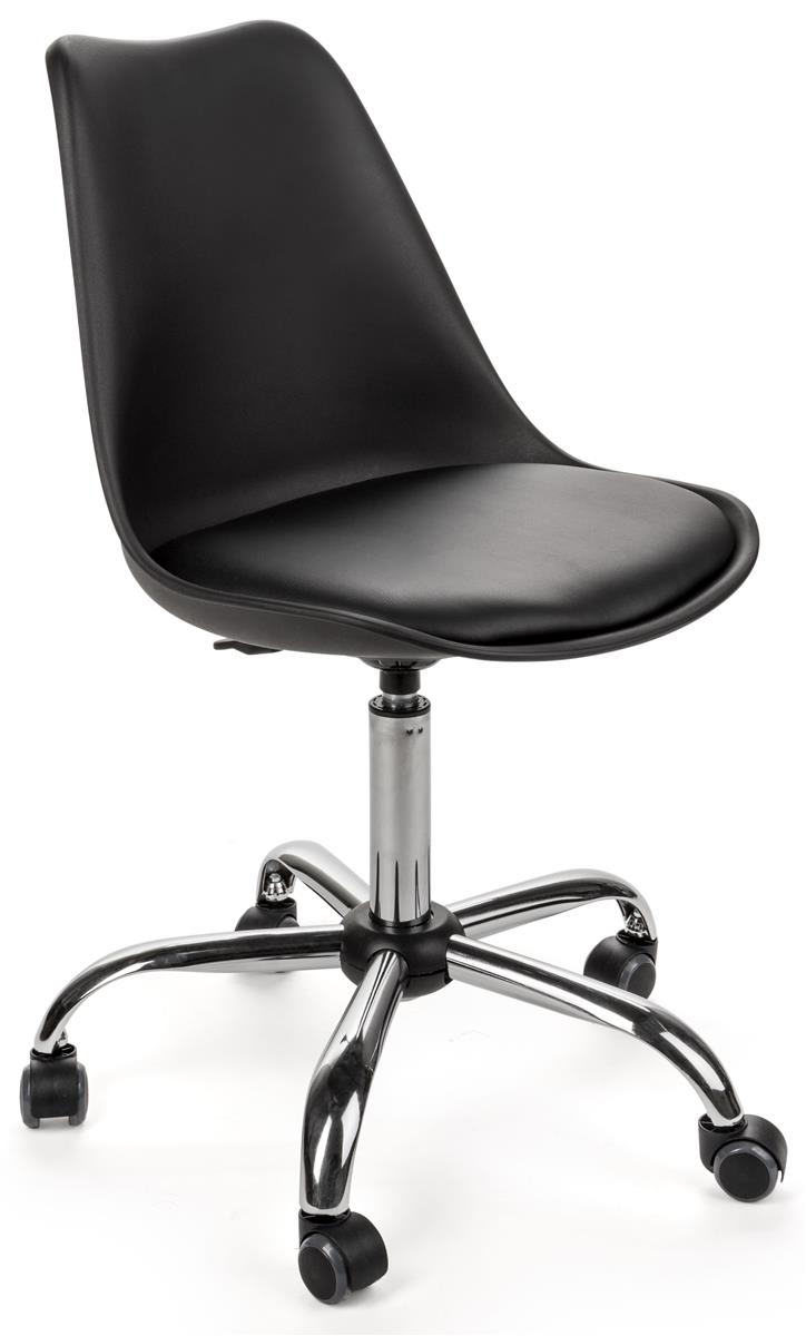 Chair On Wheels Standard Height Chair Molded Resin Padded Seat With Steel Base Wheels Black