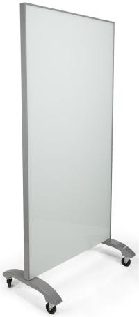 Mobile Full Height Glass Whiteboard | Gray & White