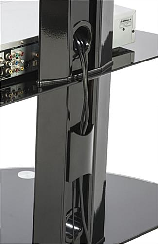 Glass and Metal TV Stand  4 Casters and Cable Management