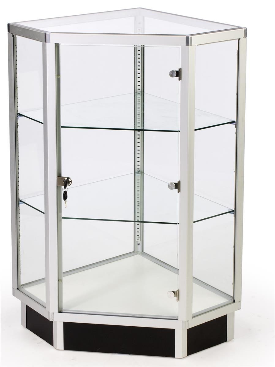 Glass Cabinets  28 Corner Display w Hinged Door