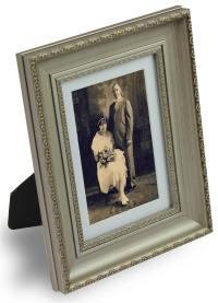 Silver Picture Frame w/ Matting for Portrait or Landscape