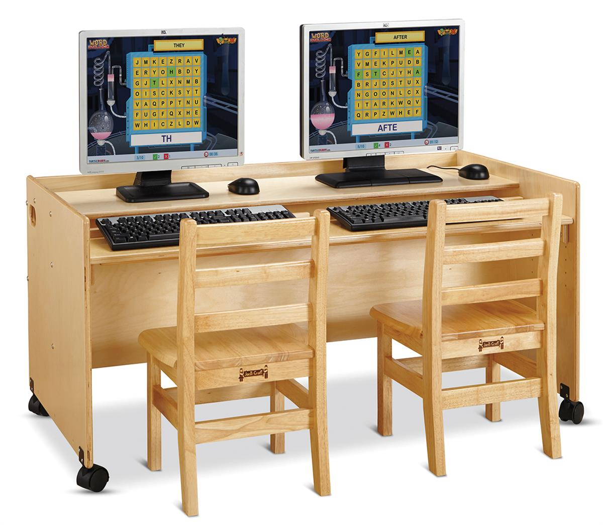 Dual Kids Computer Desk  Locking Casters
