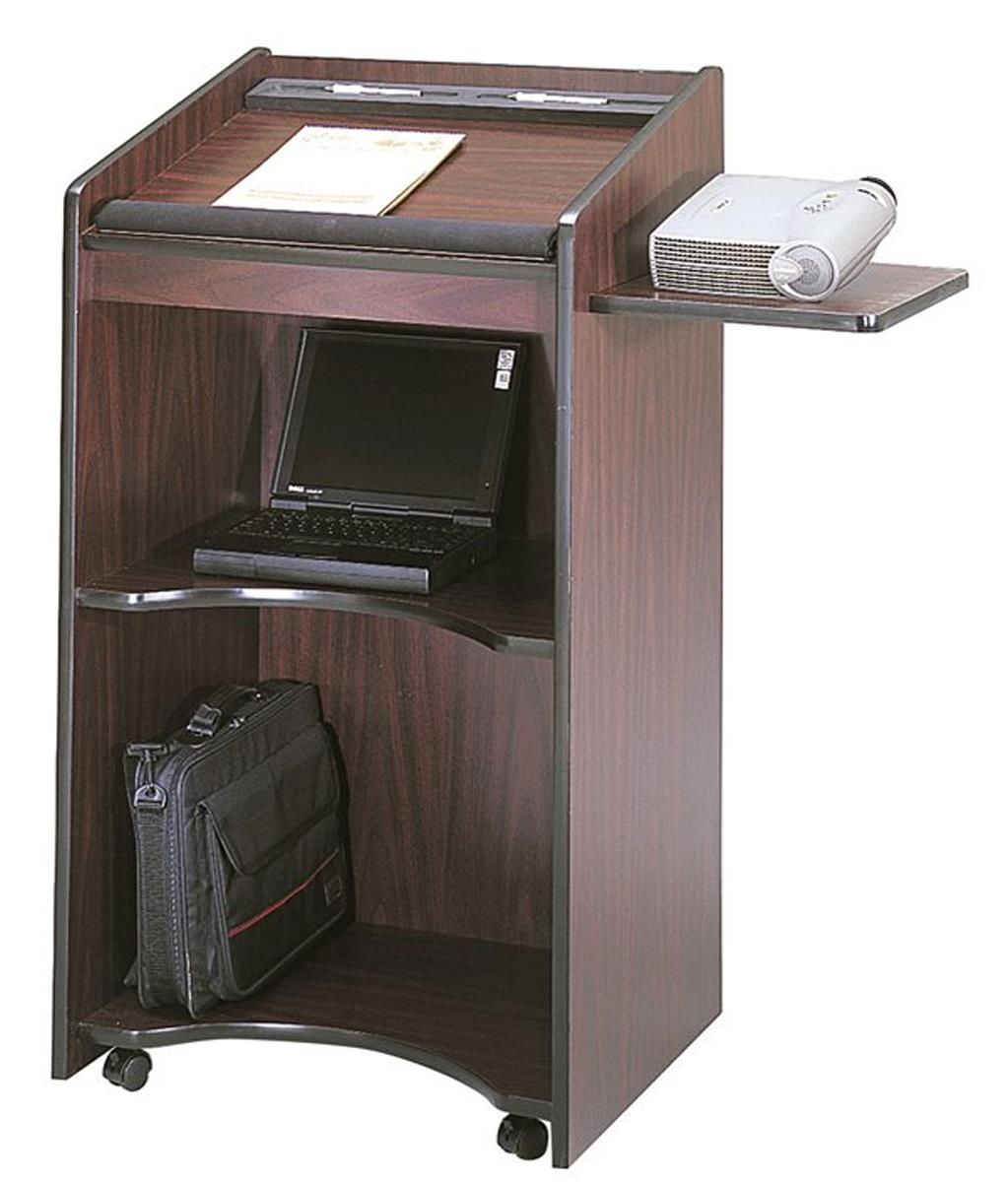 School Podium  Mobile Lectern with PullOut Side Shelf