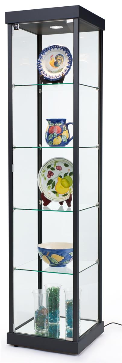 LED Tower Display Case  Fixed Glass Shelves