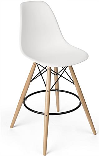 eiffel chair wood legs lucite wingback stool molded plastic with metal footrest