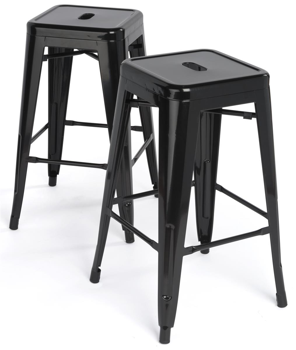 counter height chairs set of 2 pressed back stacking metal stools | black finish