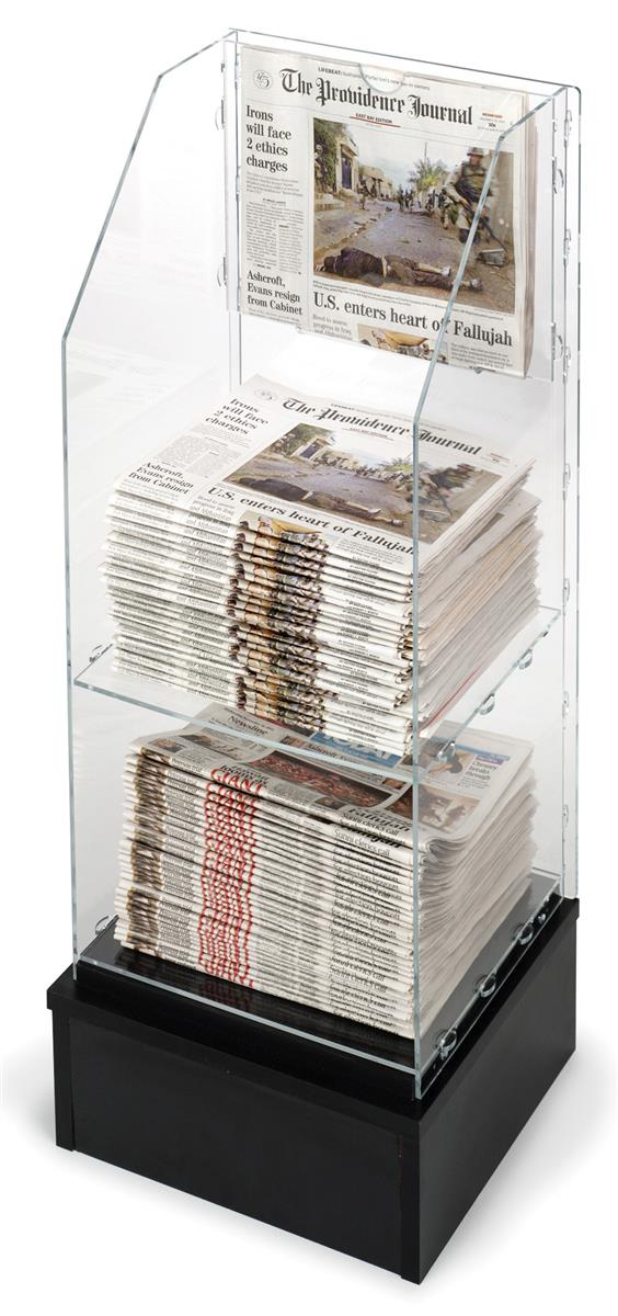 Free Standing Newspaper Rack  Acrylic w Black Base