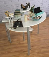 White Rotating Retail Display Table | 4 Tiers