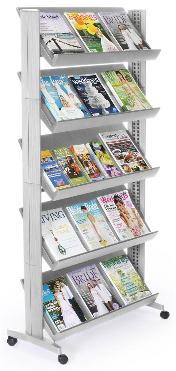 Magazine Stand w Casters  Height Adjustable