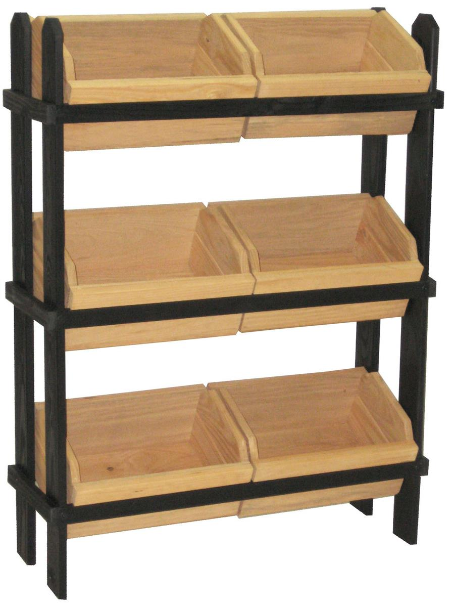 Tiered Crate Display  4 Removable Oak Stain Compartments