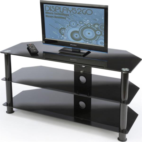 Glass TV Stand with Shelves
