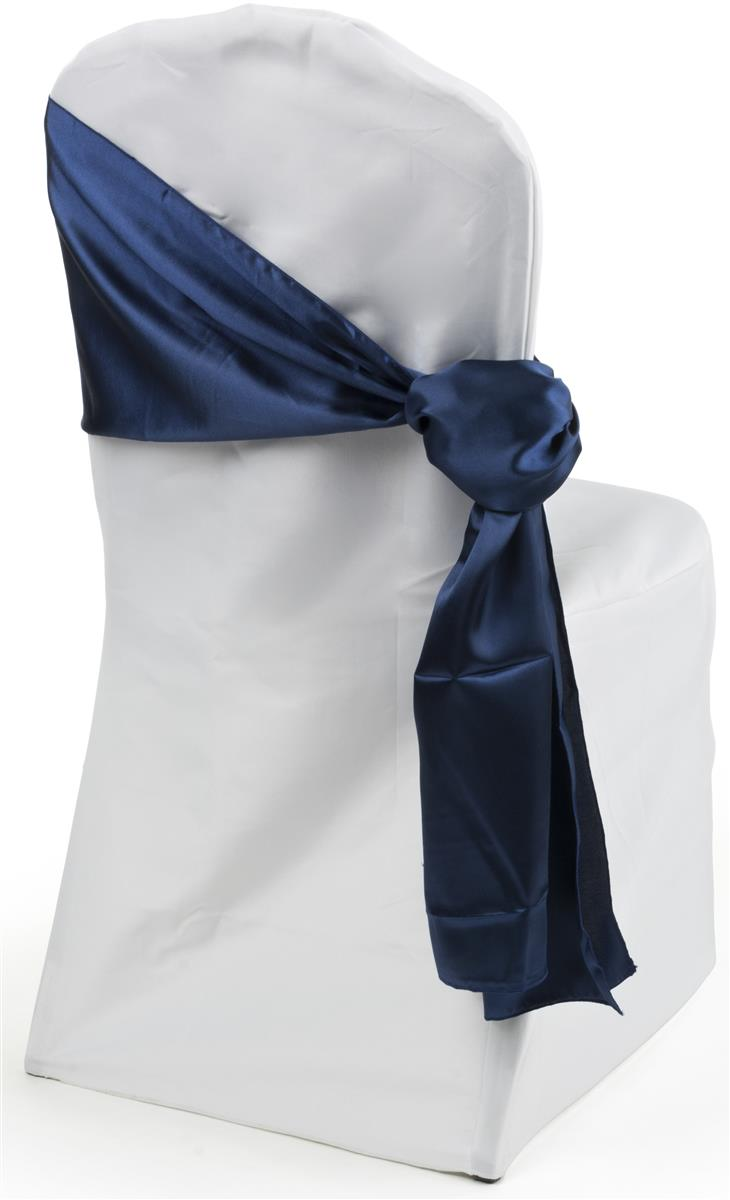 elegant chair covers for wedding butterfly target navy blue satin sashes | decor