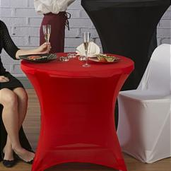 Spandex Chair Covers Canada Linen Tufted Cocktail Table Cover | Red Stretch Fabric