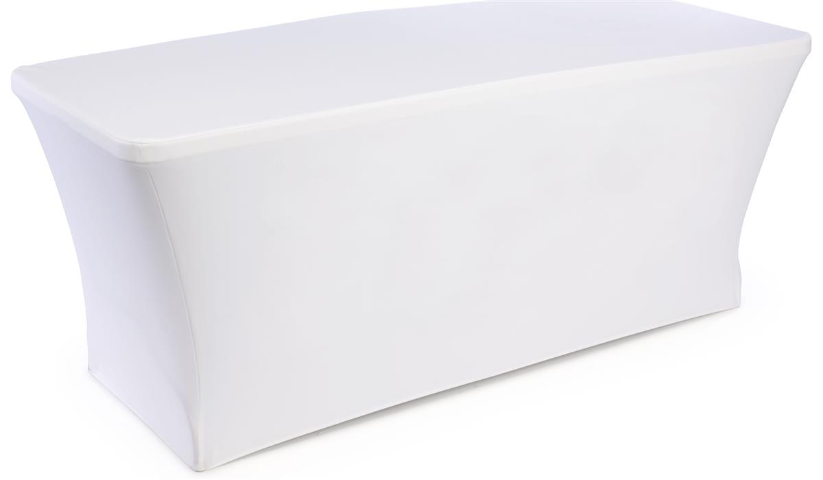 Folding Table with White Stretch Cover  Measures 6 Long