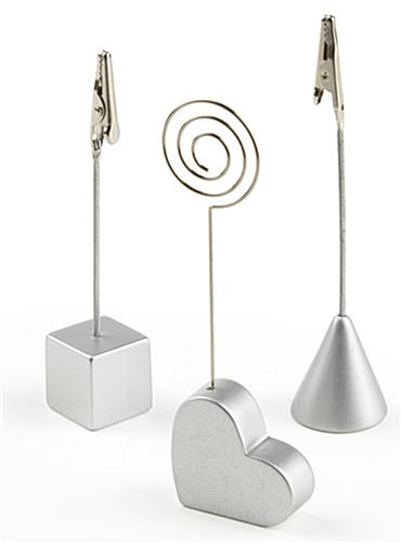 Silver Clip Photo Holder Heart Cone Amp Cube Bases