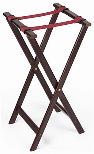 Serving Tray Stands  Red Nylon Straps  Mahogany Finish