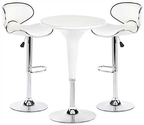 pub style table and chair set dining cushion covers ikea white trade show chairs modern with chrome accents