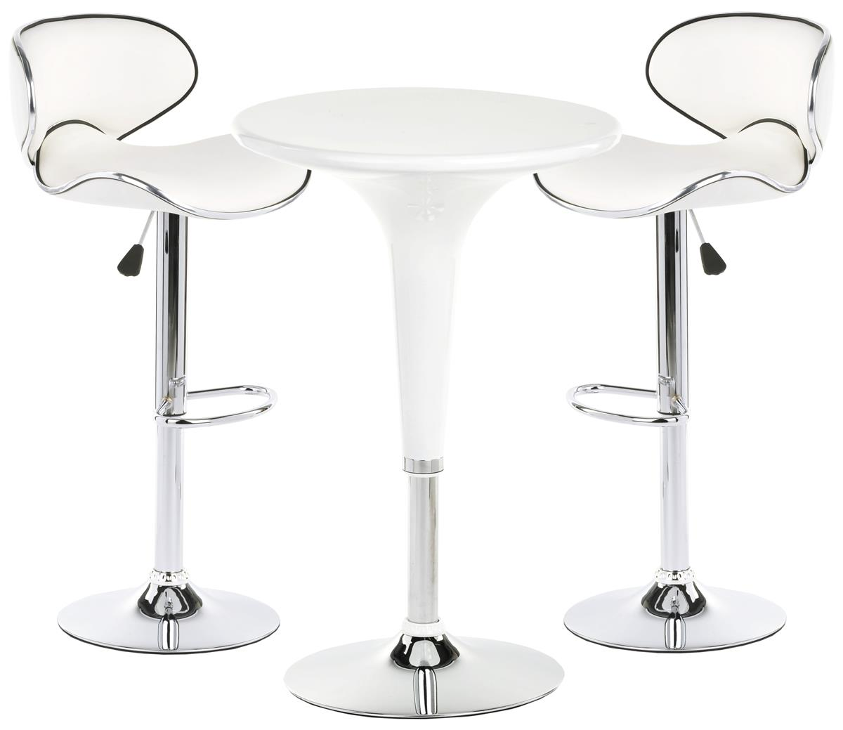 Bar Table With Chairs Pub Table Set With 1 Round Cocktail Table 2 Adjustable Leatherette Stools White