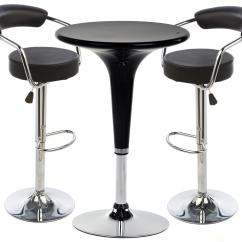 Bar Table Chairs Little Tykes And Black Hydraulic Stool Set Leatherette Seats