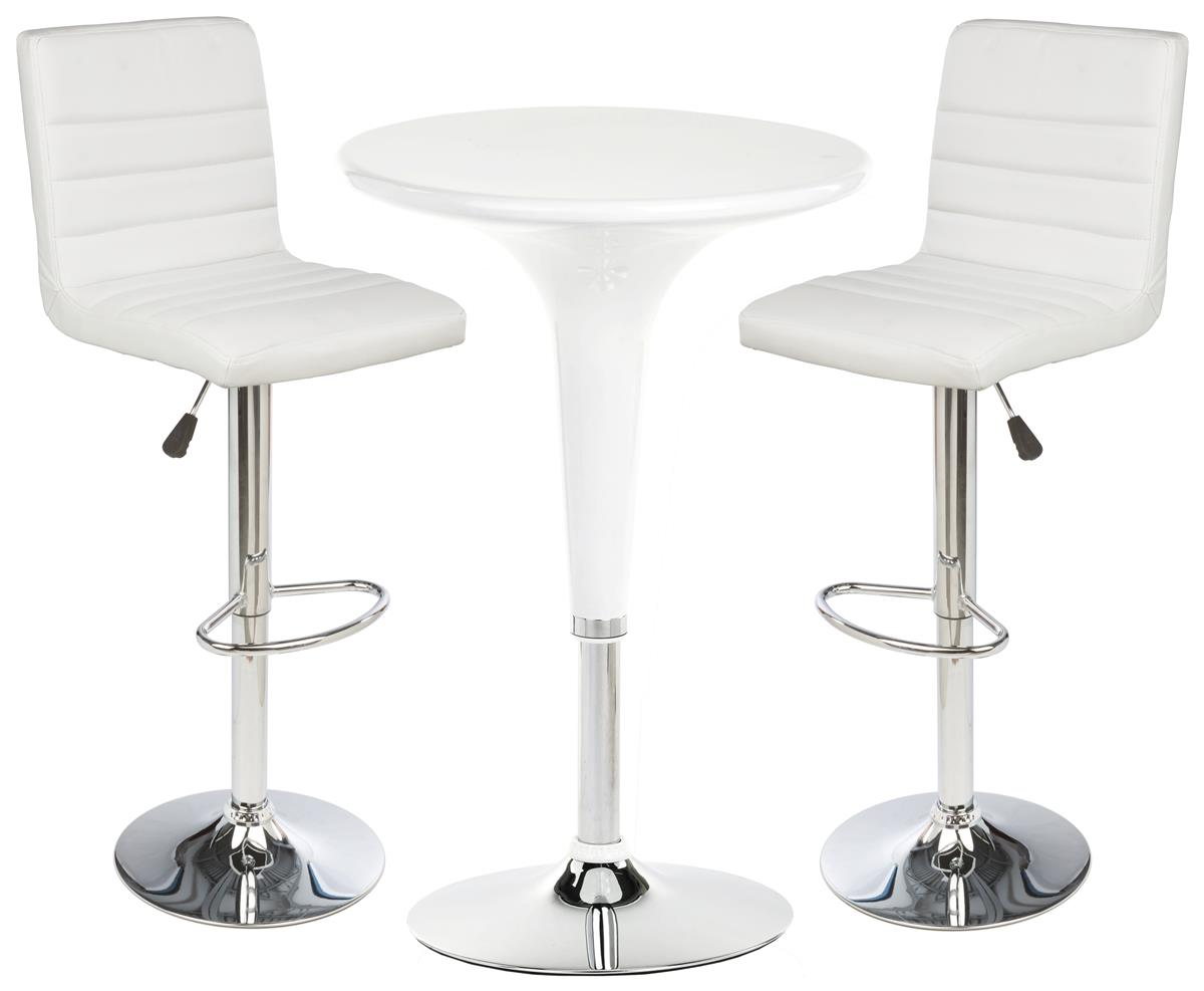 White Gas Lift Chair And Table Set