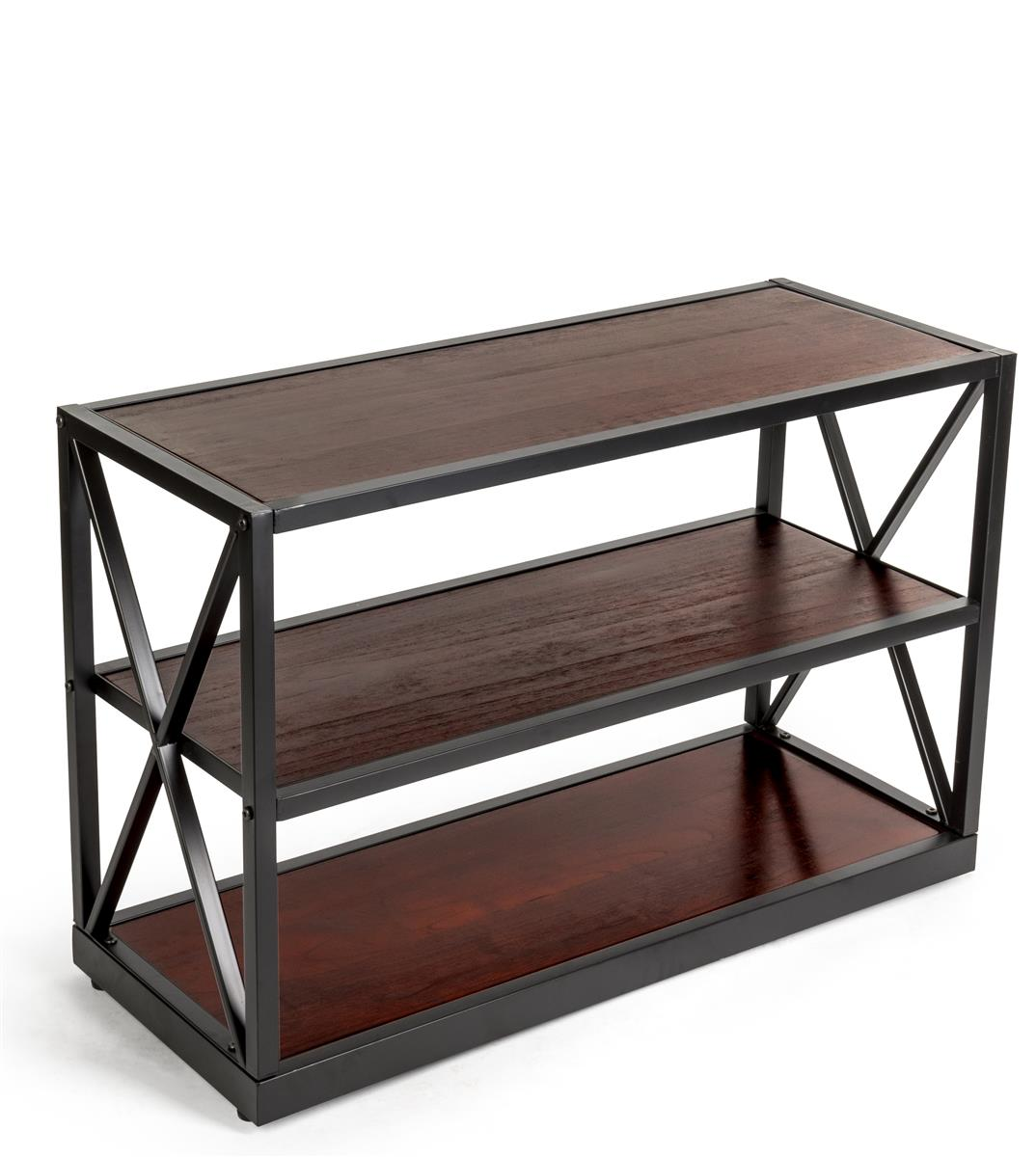 Steel Frame X Sided Shelving Unit With 3 Solid Wood Tiers Open Back Dark Brown